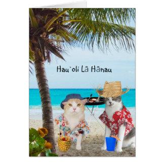 Gatos divertidos en la playa tarjeta de felicitación