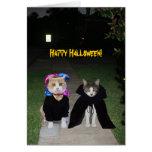 Gatos divertidos Halloween Felicitacion