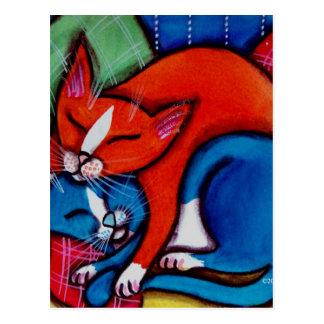 Gatos el dormir tarjetas postales