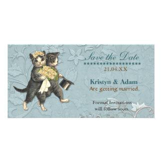 Gatos elegantes que casan reserva la fecha tarjetas con fotos personalizadas