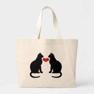 Gatos en amor bolsa tela grande