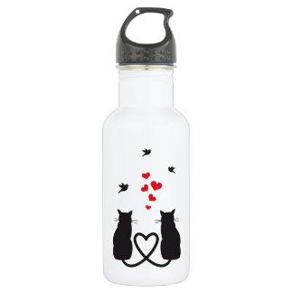 gatos en amor con los pájaros y los corazones
