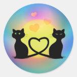 Gatos en amor etiqueta redonda