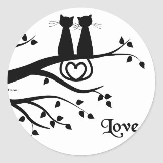 Gatos en amor pegatina redonda