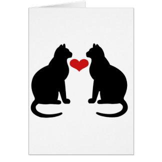 Gatos en amor tarjeta de felicitación