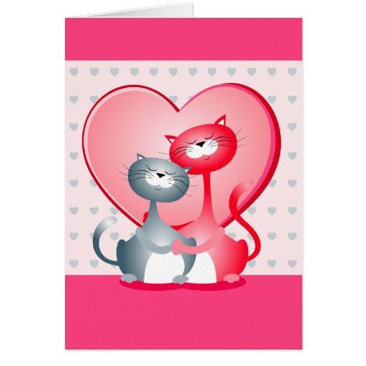 Gatos en amor, tarjeta de felicitación