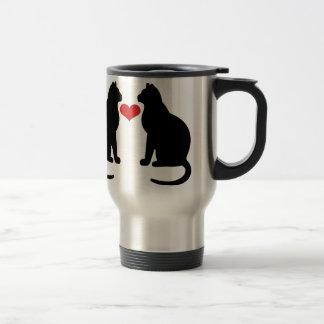 Gatos en amor taza de viaje