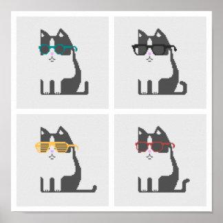 Gatos en arte cuadrado del pixel de los vidrios póster