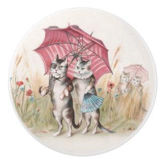 Gatos en botón decorativo lindo del amor pomo de cerámica