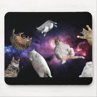 Gatos en cojín de ratón del espacio alfombrilla de ratones