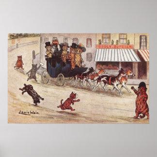 Gatos en del coche de la raza la calle principal póster