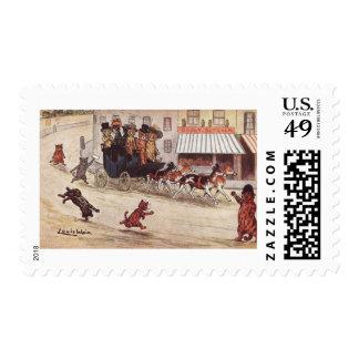 Gatos en del coche de la raza la calle principal sellos