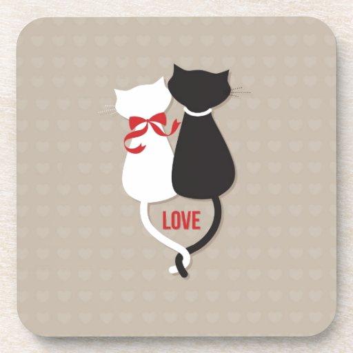 Gatos en el amor rodeado de memoria posavasos