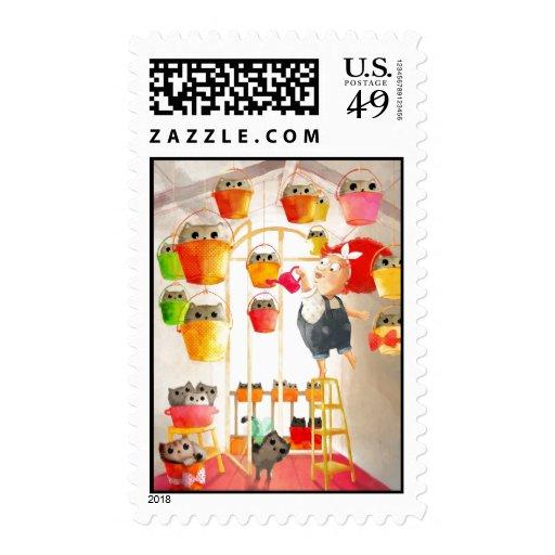 Gatos en el ático sello postal