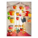 Gatos en el ático tarjeta de felicitación