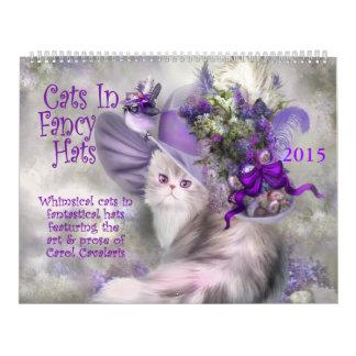 Gatos en el calendario de lujo 2015 del arte de