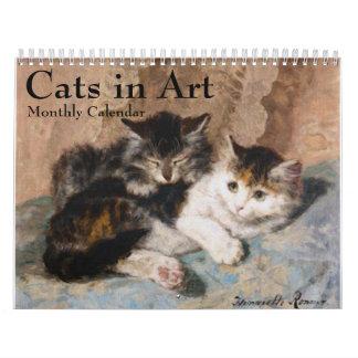 Gatos en el calendario mensual 2016 de la bella