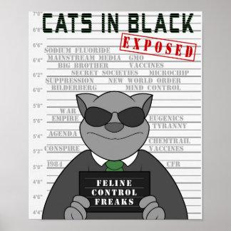 Gatos en el diseño negro 2 del poster