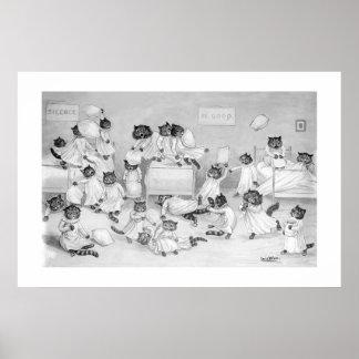Gatos en el dormitorio de Louis Wain - Posters