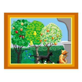 Gatos en el jardín postales