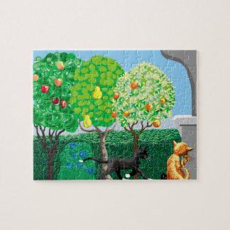 gatos en el jardín puzzle