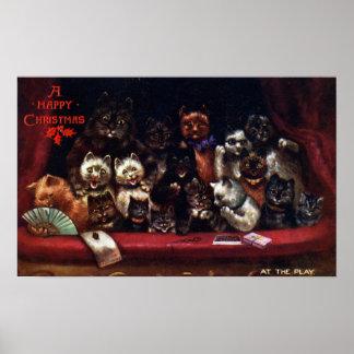 Gatos en el teatro para el navidad Louis Wain Póster