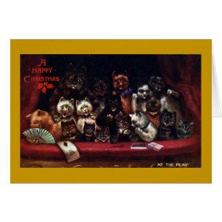 Gatos en el teatro para el navidad tarjeta de felicitación