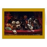 Gatos en el teatro para el navidad tarjetas