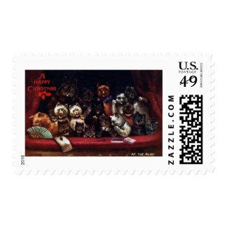 Gatos en el teatro para el navidad timbres postales