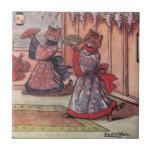 Gatos en el vintage Louis Wain de los kimonos Azulejo Cuadrado Pequeño