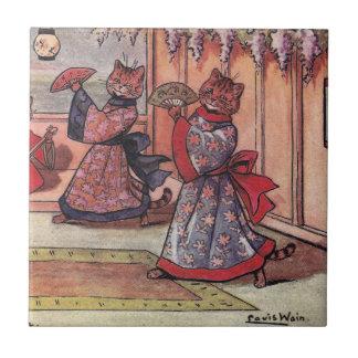 Gatos en el vintage Louis Wain de los kimonos Tejas Ceramicas