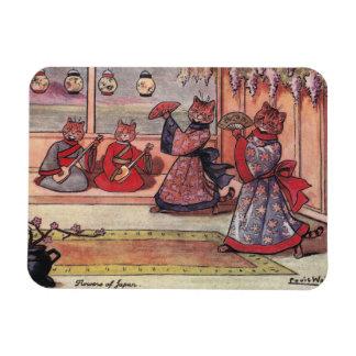 Gatos en el vintage Louis Wain de los kimonos Iman De Vinilo
