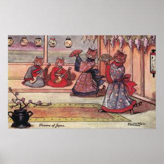 Gatos en el vintage Louis Wain de los kimonos Póster