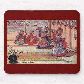 Gatos en el vintage Louis Wain de los kimonos Alfombrillas De Ratón