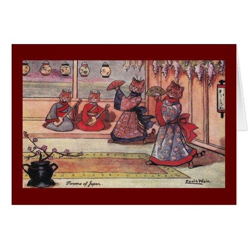 Gatos en el vintage Louis Wain de los kimonos Tarjeta De Felicitación