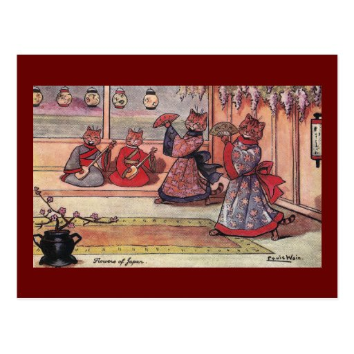 Gatos en el vintage Louis Wain de los kimonos Tarjeta Postal