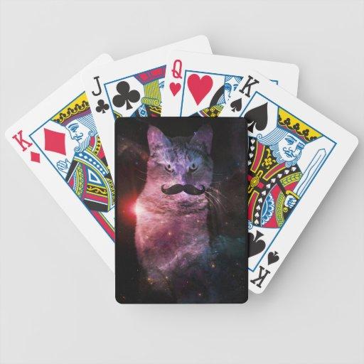 Gatos en espacio baraja cartas de poker