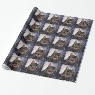 Gatos en espacio papel de regalo