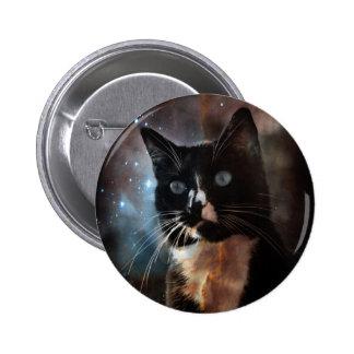 Gatos en espacio pin redondo 5 cm