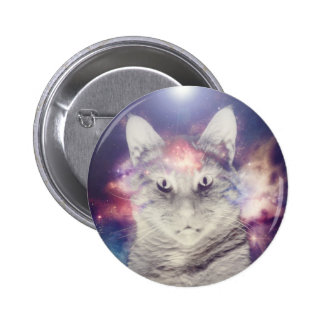 Gatos en espacio pin redondo de 2 pulgadas