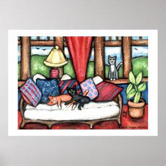 Gatos en la impresión del arte del Sunroom Póster