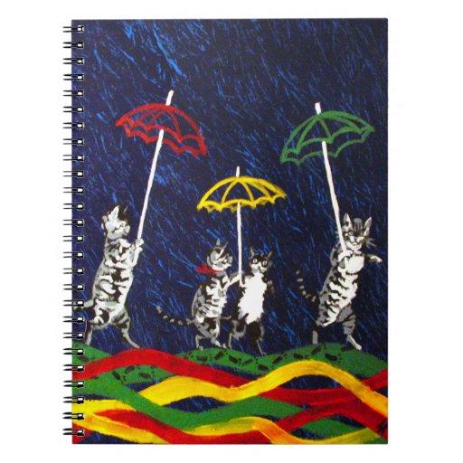 Gatos en la lluvia libro de apuntes con espiral