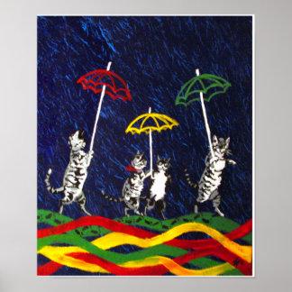 Gatos en la lluvia póster