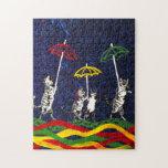 Gatos en la lluvia puzzles con fotos
