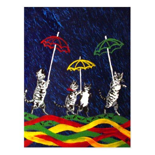 Gatos en la lluvia postal