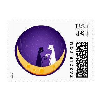 Gatos en la luna estampillas