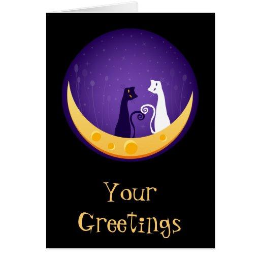 Gatos en la luna tarjeta de felicitación