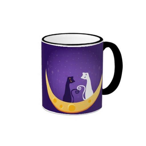 Gatos en la luna taza de café