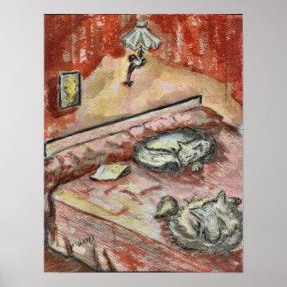 Gatos en la pintura original de la cama de Phyllis Póster