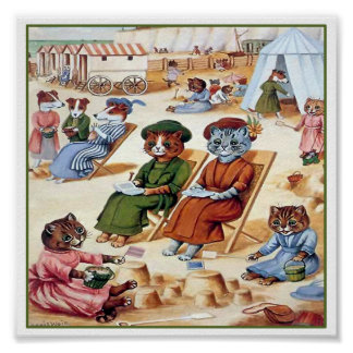 Gatos en la playa de Louis Wain Poster